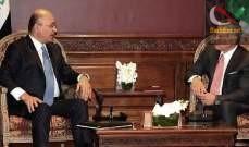 صورة ملك الأردن ورئيس العراق بحثا بتوسيع التعاون في ميادين الطاقة والإقتصاد والنقل