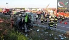 صورة قتيل وأكثر من 60 جريحا بحادث حافلة قرب لايبزيغ في ألمانيا